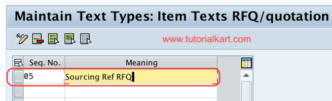 Define text types for item texts