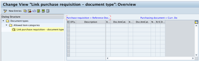 Link PR - document type RFQ new entries SAP