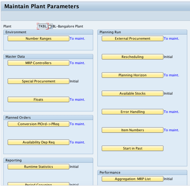 Maintain plant parameters in SAP MM