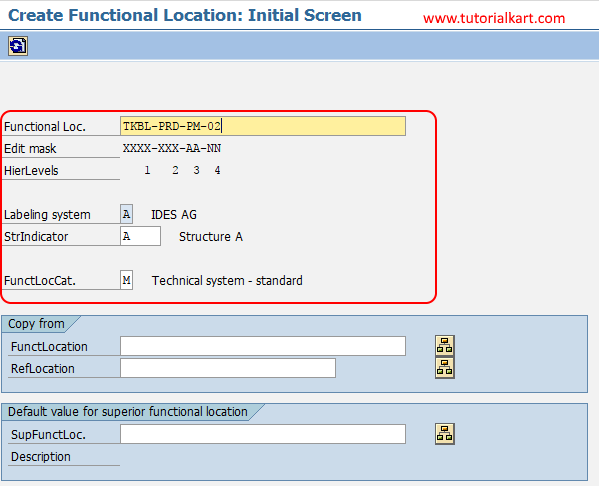 SAPa create functional location initial screen