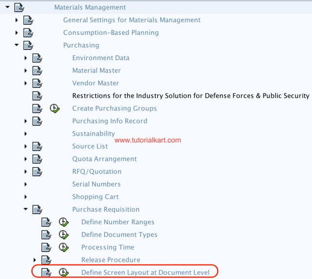 Screen Layout at Document Level menu path