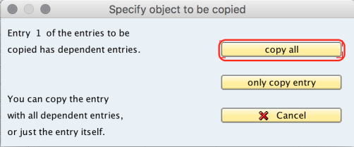 Specify object to be copied SAP