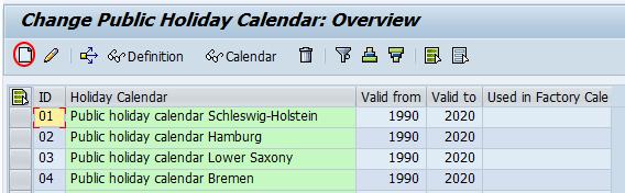 change public holiday calendar SAP
