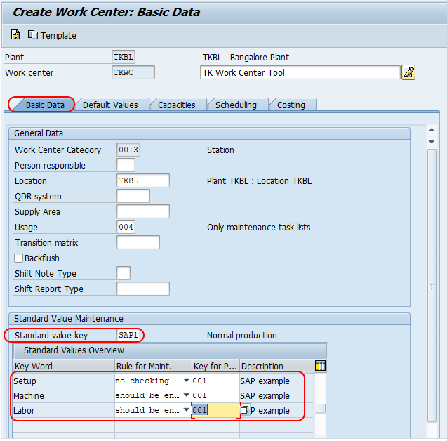 create work centre basic data SAP