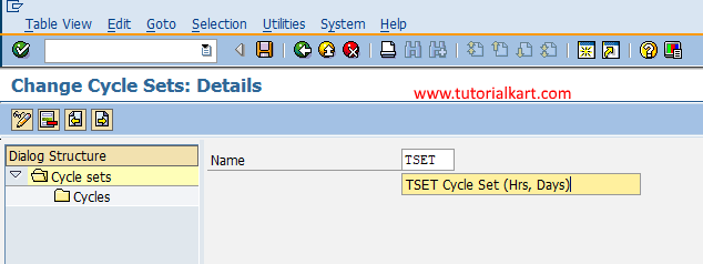 create cycle sets in SAP PM