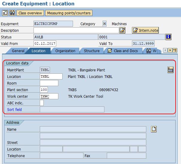 create equipment location in SAP