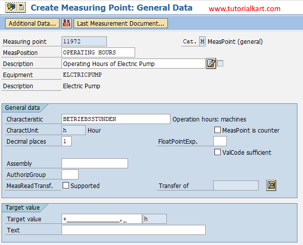 create measuring point general data in SAP