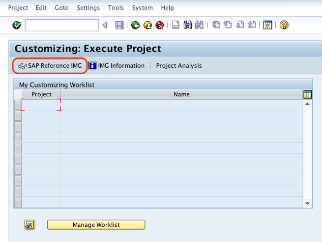 SAP Reference IMG - Execute Project