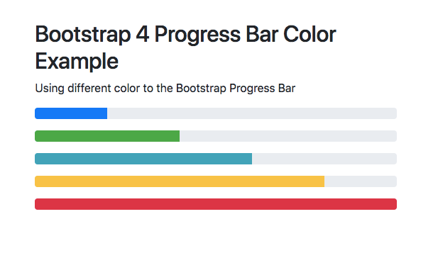 Bootstrap 4 Progress Bar Example Color Height Animate Circle