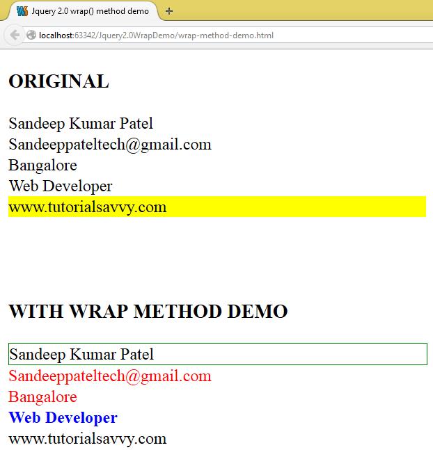 Wrap Method In Jquery 2 -Tutorial Savvy