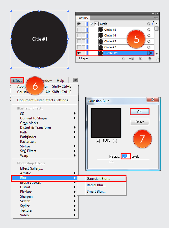 Film Can & Clapper Board vector in Adobe Illustrator CS5 - Step 03