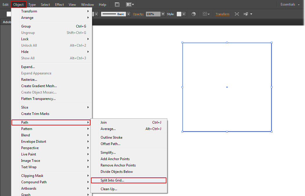 Now split the square shape into horizantal gird