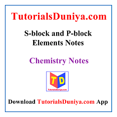 S-block and P-block Elements Notes PDF