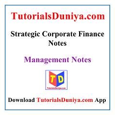 Strategic Corporate Finance Notes PDF