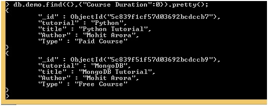 MongoDB Exclusion Projection Examples