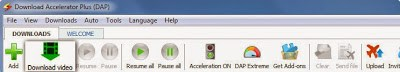 Toolbar Menu Download Accelerator Plus