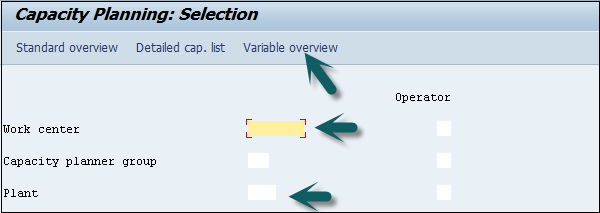 Capacity Planning Selection