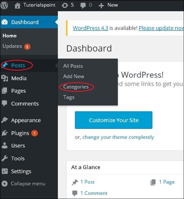 WordPress add category