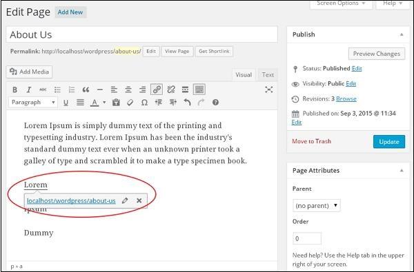 WordPress Edit Links