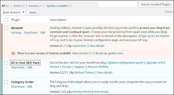 wordPress install plugins