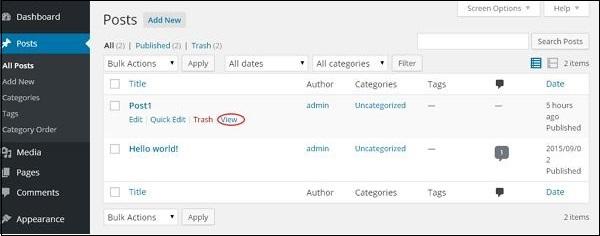 WordPress preview posts