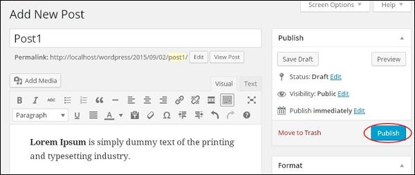 WordPress Publish Posts