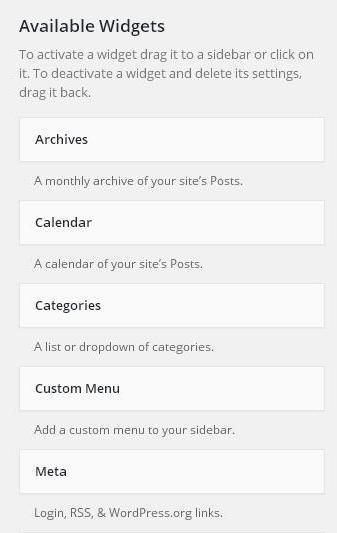 WordPress Widget Management