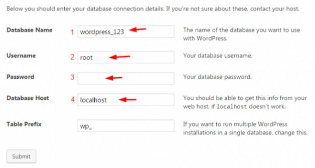 Atur database WordPress Wampserver