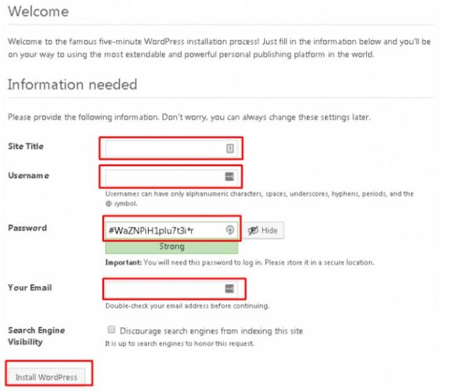 Isi database WordPress