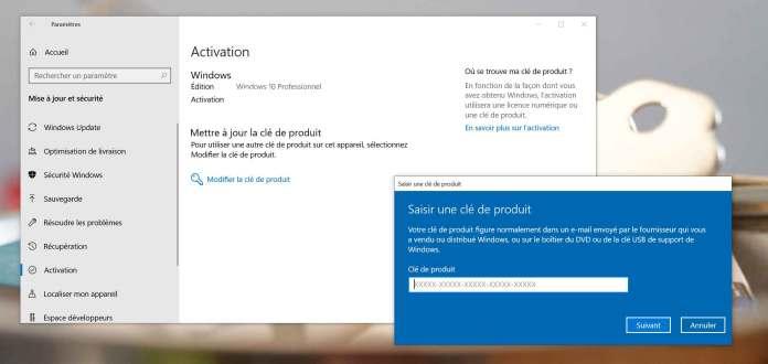 clé dactivation Windows