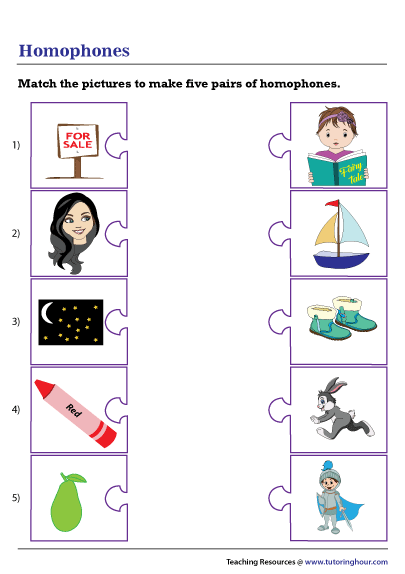Matching Homophones Worksheet