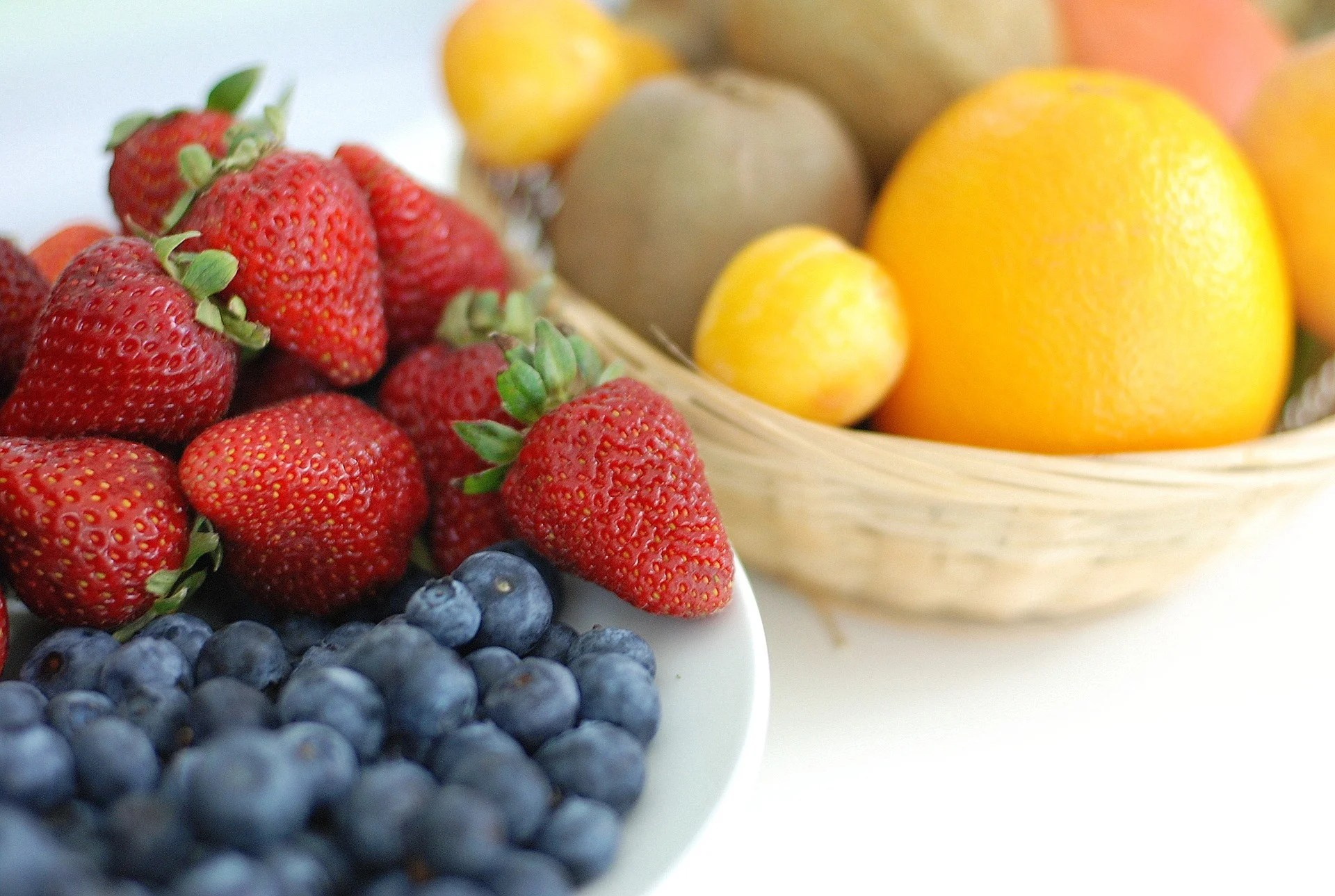 Fruit - Strawberries, Blueberries and Oranges