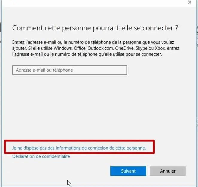 création du compte sur windows 10