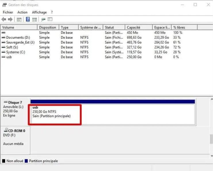 gestion des disques Windows