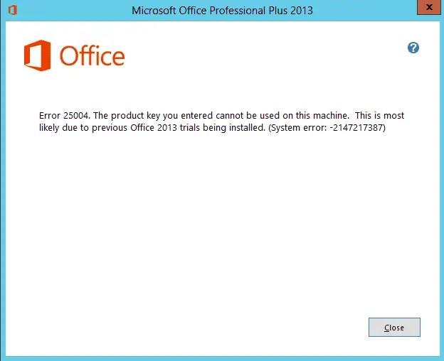 problèmes d'installation office erreur 25004