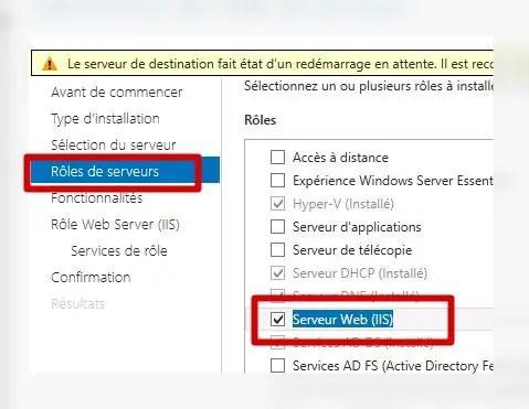 ajout du rôle serveur web IIS