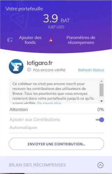 détail du bouton rewards sur le navigateur internet Brave