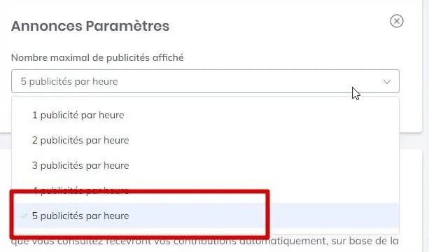 définir le nombre de publicités par heures avec le navigateur Brave