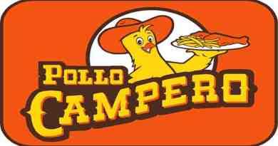 Logo de la empresa Pollo campero, un pollo sosteniendo un plato de pollo frito y las palabras pollo campero, el pollo tiene un sombrero anaranjado