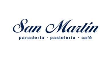 Logotipo de las panaderias guatemaltecas conocidas como San Martín, son letras estilizadas de color azul