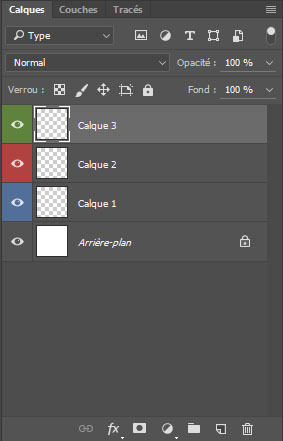 astuces Photoshop code couleur calques