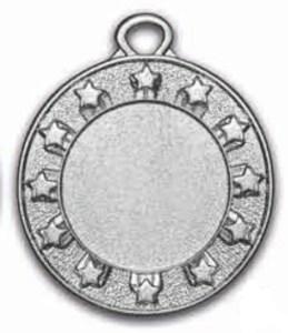 Medaglie stelline colore argento diametro 40