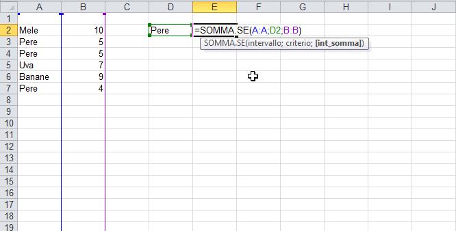 Somma condizionale con la funzione SOMMA.SE