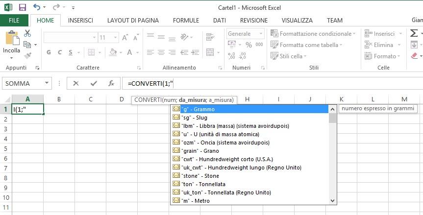 Eccezionale Convertire unità di misura con Excel - TuttoExcel ER87