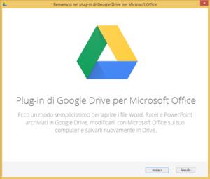Primo avvio del plugin Google Drive per Office