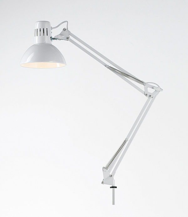 Lampada scrivania orientabile in metallo colore bianco