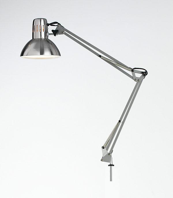 Lampada scrivania orientabile in metallo cromo lucido