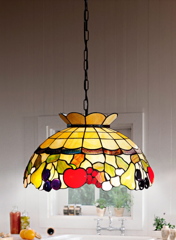 Lampada Soffitto Sospensione Tiffany con catena T923s