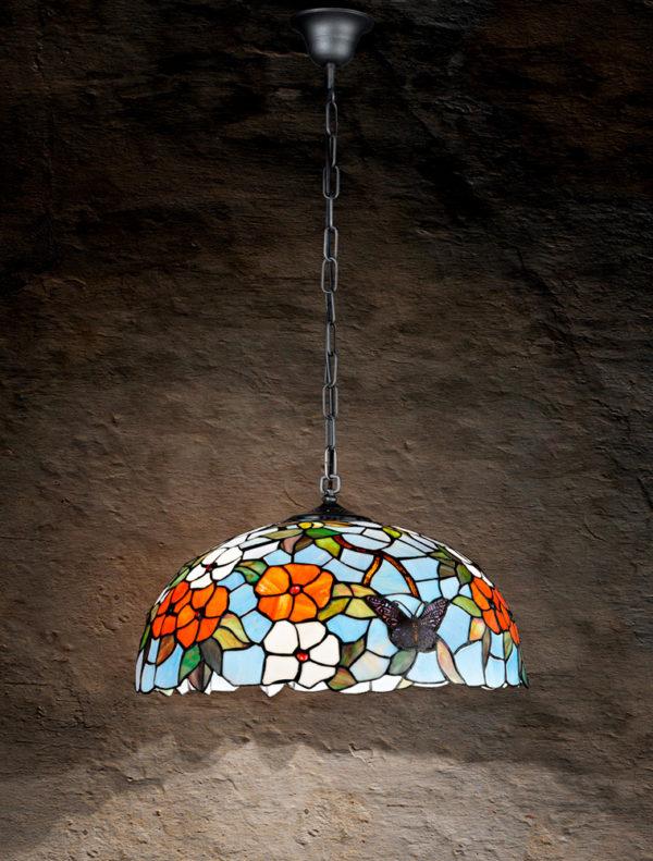Lampada Soffitto Sospensione Tiffany con catena T998s