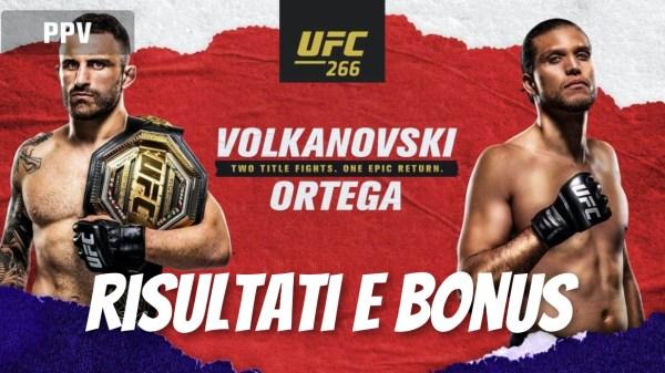 ufc 266 volkanovski vs brian ortega risultati e bonus